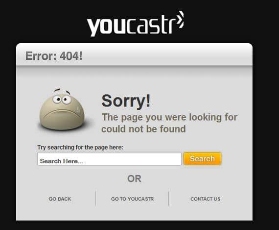 نمونه صفحه خطای 404