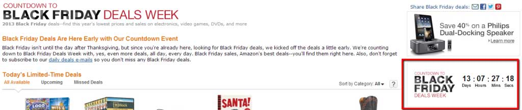 eCommerce Ugency Amazon Black Friday Deals Countdown3