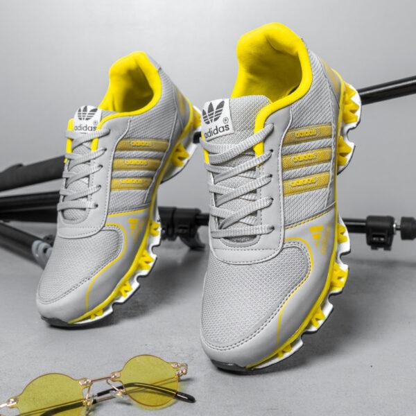 کفش ورزشی Adidas مردانه طوسی زرد مدل Gilva4